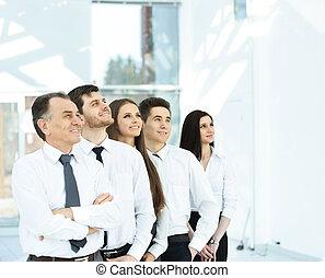 empresa / negocio, exitoso, moderno, offic, plano de fondo, brillante, equipo