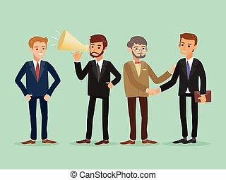 empresa / negocio, feliz, gente, caucásico, posición, hipster, caricatura, ilustración