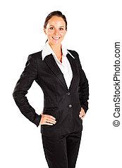 empresa / negocio, feliz, joven, longitud, retrato, mitad