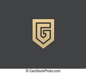 empresa / negocio, fundación, nominal, resumen, monogram, icon., template., logotipo, protector, g, universal, vector, carta, prima, diseño, signo.