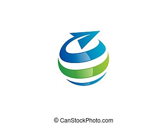 empresa / negocio, globo, esfera, vector, remolino, logotipo, viaje