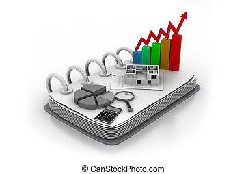 empresa / negocio, gráfico, bolsa, estadística, contabilidad, y, banca, concepto de la corporación mercantil
