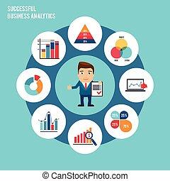 empresa / negocio, gráfico, conjunto