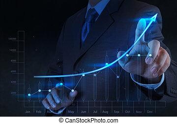 empresa / negocio, gráfico, virtual, mano, tacto, hombre de ...