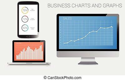 empresa / negocio, gráficos, y, gráficos