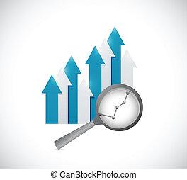 empresa / negocio, graph., arriba, ilustración, yendo, diseño
