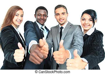 empresa / negocio, grupo, con, pulgares arriba, aislado, encima, fondo blanco