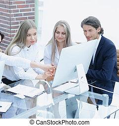 empresa / negocio, grupo, discutir, un, nuevo, comercial, project.