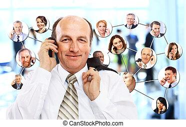 empresa / negocio, hablar, collage, gente, teléfono, diverso