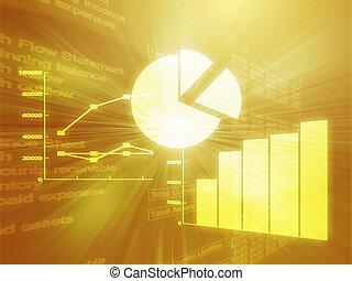 empresa / negocio, hoja de cálculo, ilustración, gráficos