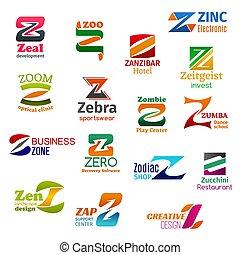 empresa / negocio, identidad, iconos, carta, z, corporativo