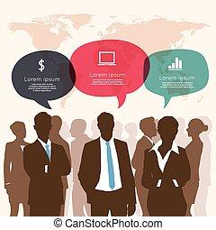 empresa / negocio, ifographic, reunión, burbuja del discurso
