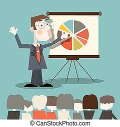 empresa / negocio, -, ilustración, vector, profesor, hombre