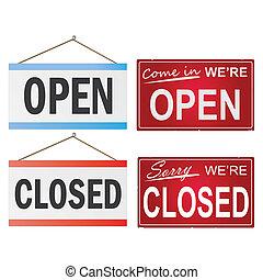 empresa / negocio, imagen, aislado, fondo., vario, cerró signos, blanco, abierto