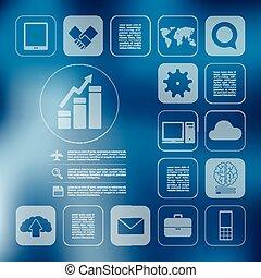 empresa / negocio, infographic, con, desenfocado, plano de...