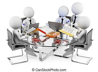 empresa / negocio, informal, personas., blanco, reunión, 3d