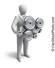 empresa / negocio, ingeniería, en, progreso