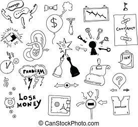 empresa / negocio, interés, conflicto, mano, dibujado,...