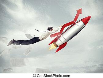 empresa / negocio, interpretación, despegue, success., 3d