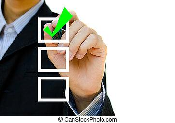 empresa / negocio, joven, boxes., mano, pluma, marca, cheque