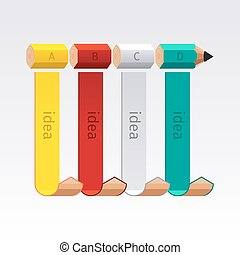 empresa / negocio, lápiz, escalera, infographics, opción