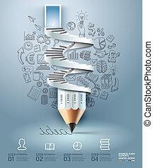 empresa / negocio, lápiz, infographics, step.