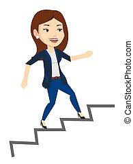 empresa / negocio, ladder., corriente, arriba, mujer de carrera