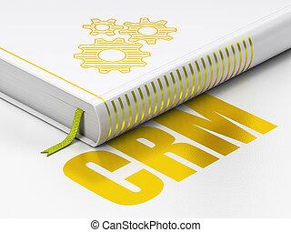 empresa / negocio, libro, plano de fondo, engranajes, blanco, concept:, crm