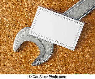 empresa / negocio, llave inglesa, tarjeta, blanco