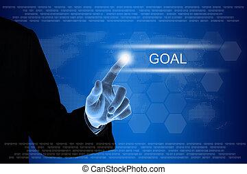 empresa / negocio, mano, hacer clic, meta, botón, en, pantalla del tacto