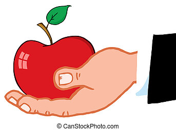empresa / negocio, mano, manzana, rojo, tenencia