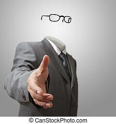 empresa / negocio, mano, ofertas, sacudida,  invisible, hombre