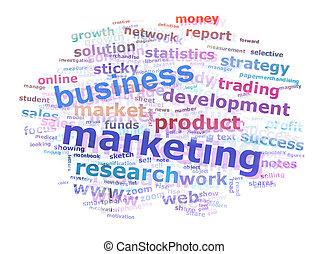 empresa / negocio, mercadotecnia, palabra, nube, publicidad,...
