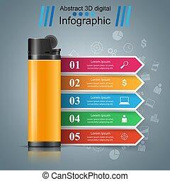 empresa / negocio, mercadotecnia, -, realista, infographic, encendedor, icon.