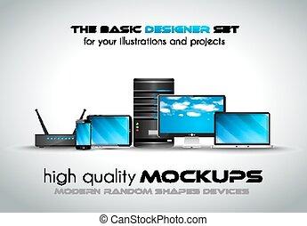empresa / negocio, moderno, dispositivos, mockups, su, proyectos