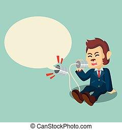 empresa / negocio, mono, gritos, en, lata, teléfono