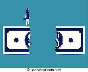 empresa / negocio, mujer de negocios, chasm., vector, concepto, financiero, illustration.