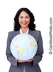 empresa / negocio, mujer de negocios, joven, global, sonriente, visionario
