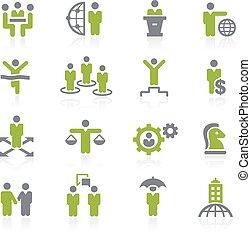 empresa / negocio, natura, éxito, icons.