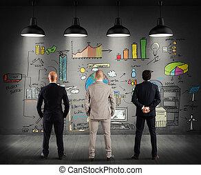 empresa / negocio, nuevo, mirar, proyecto, complejo, equipo