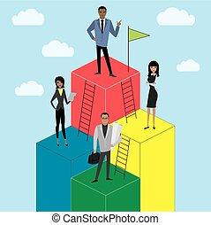 empresa / negocio, o, crecimiento, mujer de negocios, caricatura, escalera, carrera, hombre de negocios