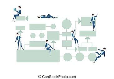 empresa / negocio, organigrama, proceso, dirección, diagrama, con, businessmans, characters., vector, ilustración, blanco, fondo.