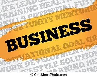 empresa / negocio, palabra, nube, collage