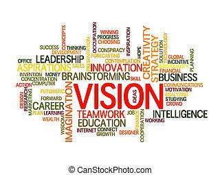 empresa / negocio, palabra, visión, nube