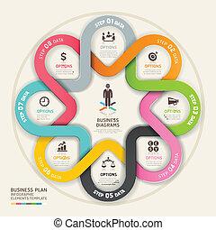empresa / negocio, paso, plan, círculo, origami