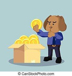empresa / negocio, perro, escoger, un, bueno, moneda