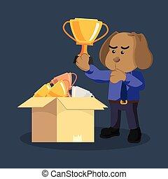 empresa / negocio, perro, escoger, un, bueno, trofeo