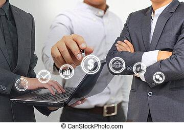 empresa / negocio, personas trabajo, juntos, planificación de proyecto, equipo