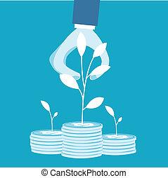 empresa / negocio, pilas, coins, árbol, coger, hombre
