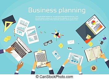 empresa / negocio, planificación, concepto, hombre de negocios, manos, escritorio, plan, documentos, tela, bandera